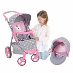 2-In-1 Doll Stroller and Carrier Travel System, Toy Stroller