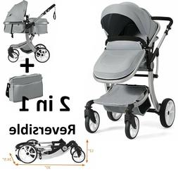 3 in 1 Foldable Baby Stroller High View Pram Luxury Pushchai