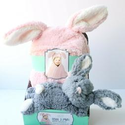 Little Miracles Bunny Rabbit Pink Hooded Baby Blanket Plush
