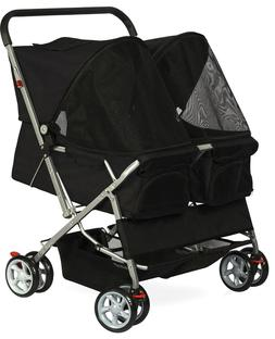 Dog Double Stroller  Cat Walk Folding Travel Cart for Small