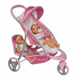 Jakks Perfectly Cute Baby Doll Double Stroller/Jogger for 18