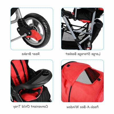 Foldable Twin Infant Pushchair Red