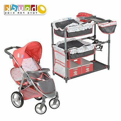 twin doll play set double stroller