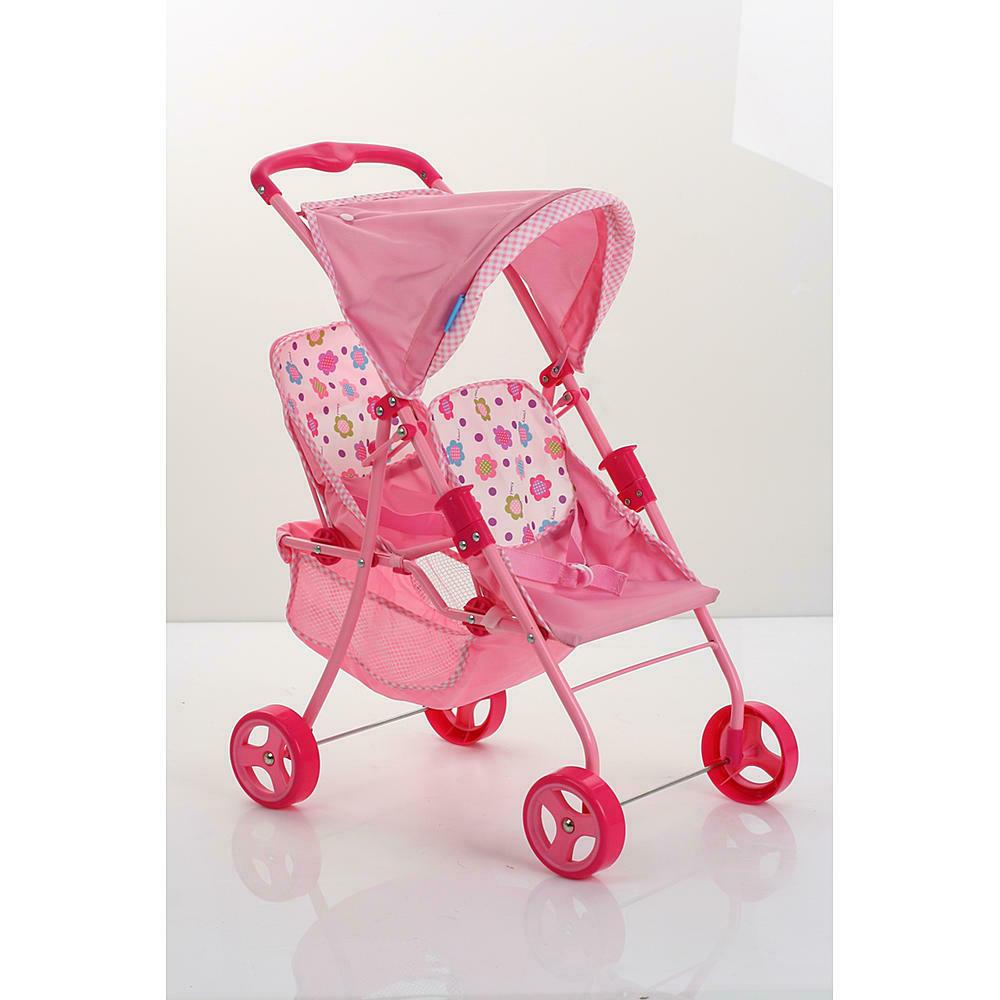 Twin Doll Stroller Girl Toy with Canopy Reclining Seats and