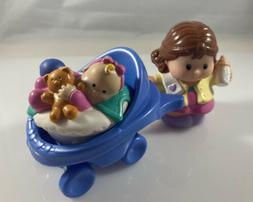 Lot Fisher Price Little People Mom Baby Sitter Stroller EUC