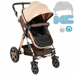 FOLDABLE PRAM BABY STROLLER CARRIAGE INFANT 360 °FRONT WHEE