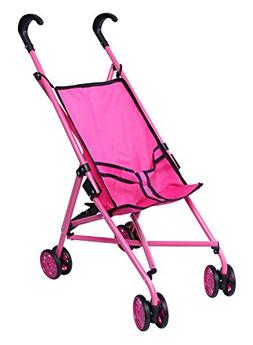 Precious Toys Hot Pink & Black Handles Doll Stroller with Sw