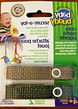 Baby Buddy secure-a-toy OLIVE|TAN 2 Pack attaches to strolle